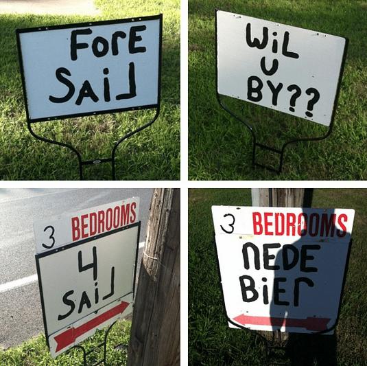Humorous Real Estate Signs
