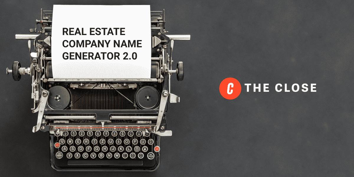 Real Estate Company Names Generator 2.0 - typewriter image with copy on a piece of paper
