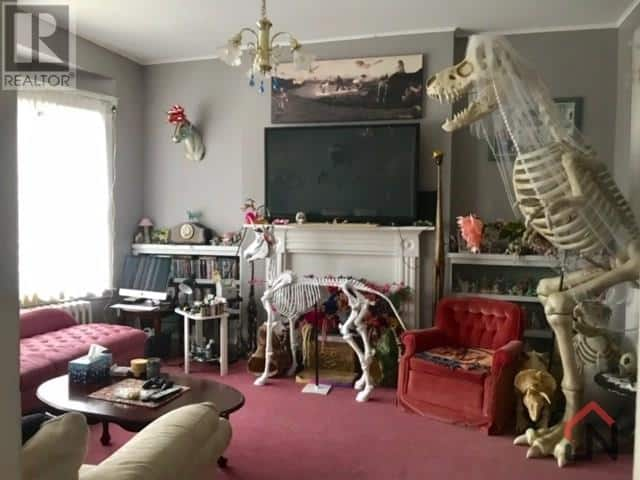 Living room with skeletons