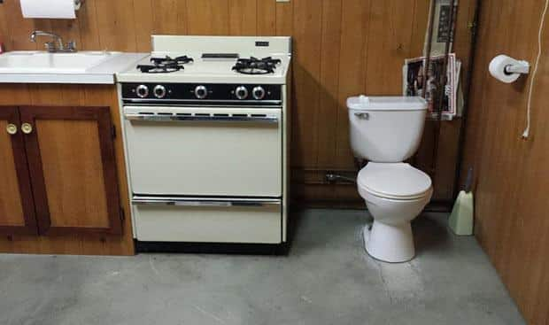 bad real estate photos: Toilet in the kitchen