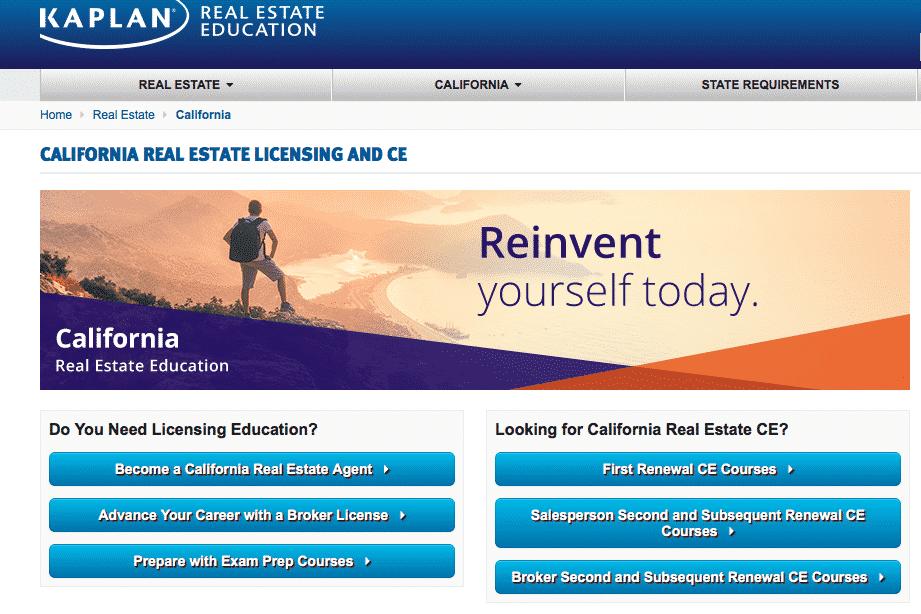 Kaplan California Real Estate Licensing and CE