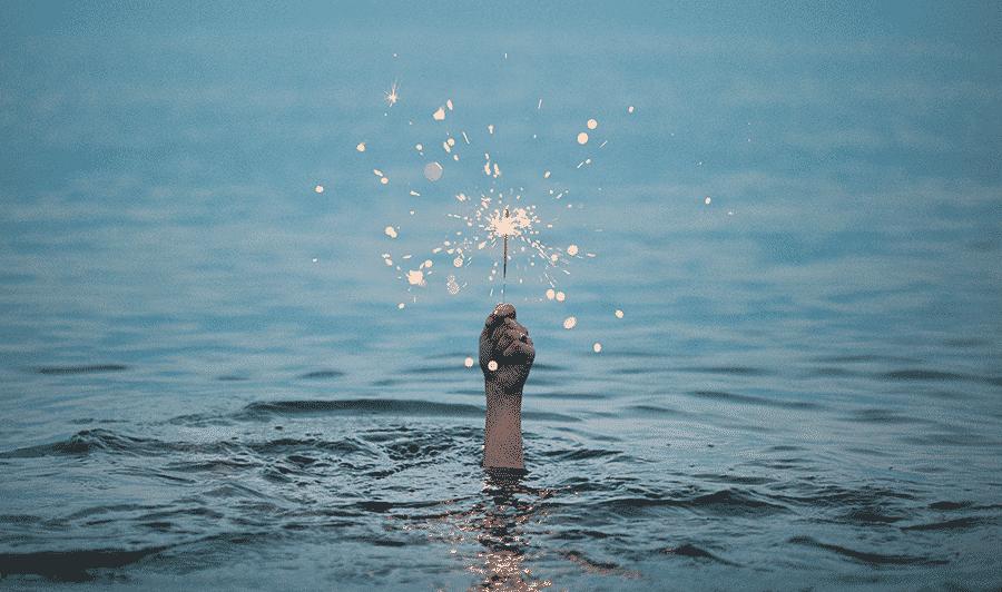 underwater holding fireworks