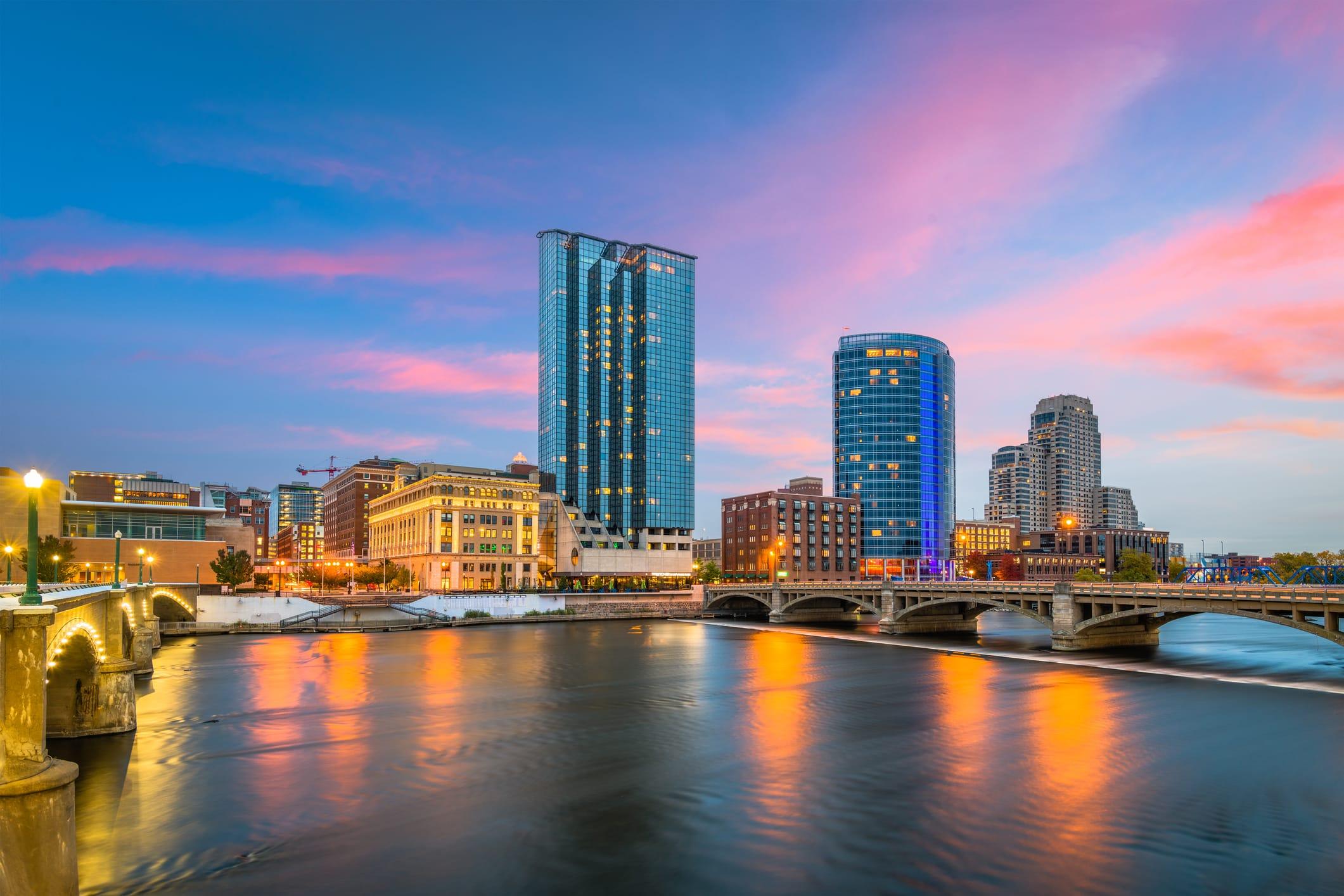 Grand Rapids, Michigan, USA Downtown Skyline