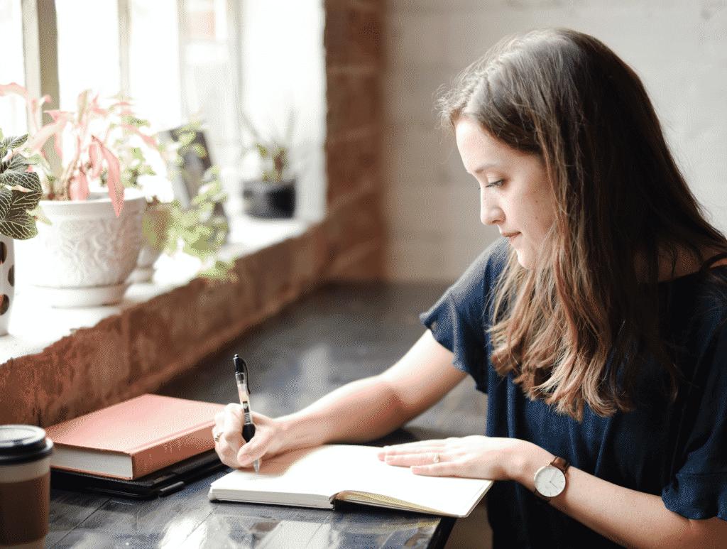 Woman writing story