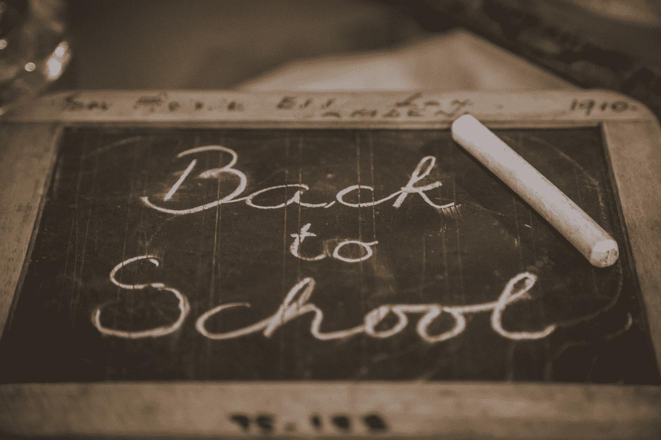 chalkboard with Back to school writings