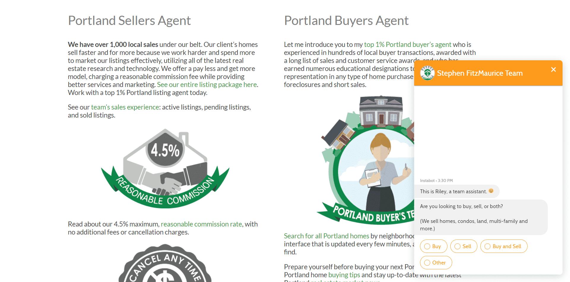 Real Estate Website Chatbots