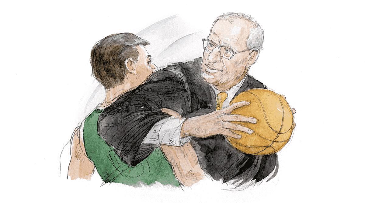 Judge Playing Basketball