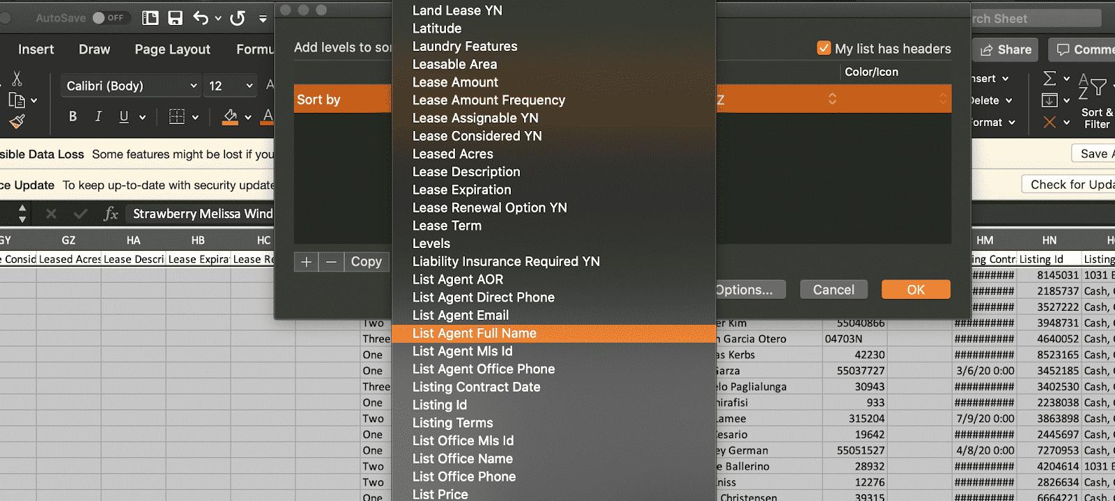 Sorting List Agent Full Name
