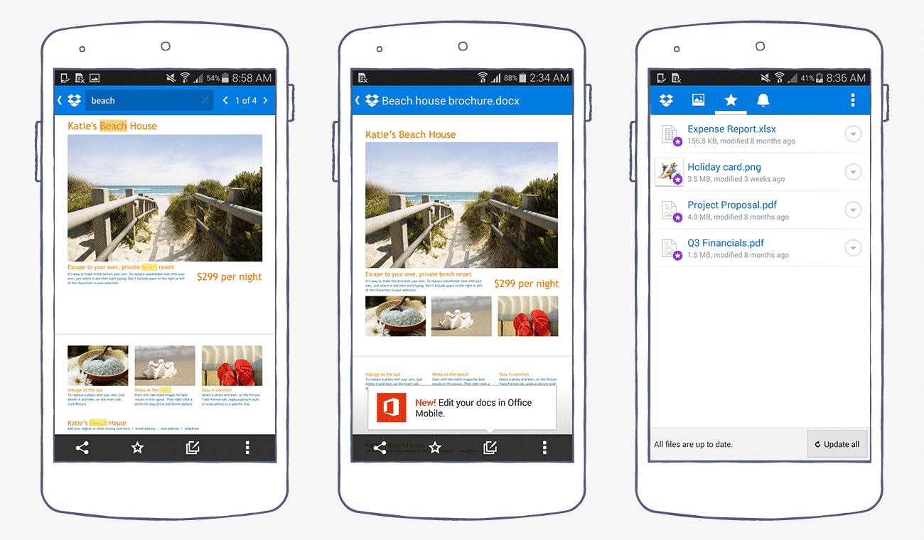 Dropbox mobile app interface
