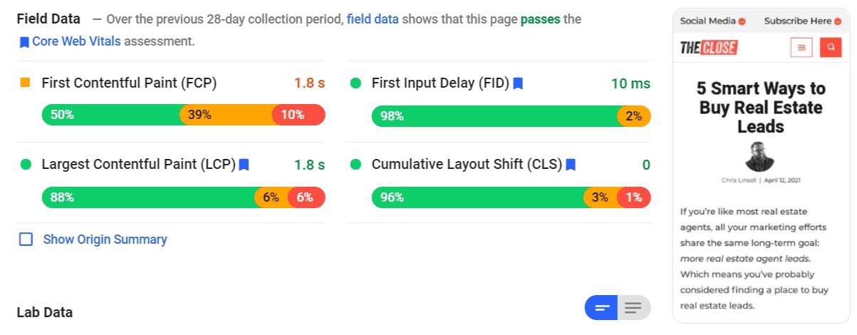 Field data - core web vitals assessment