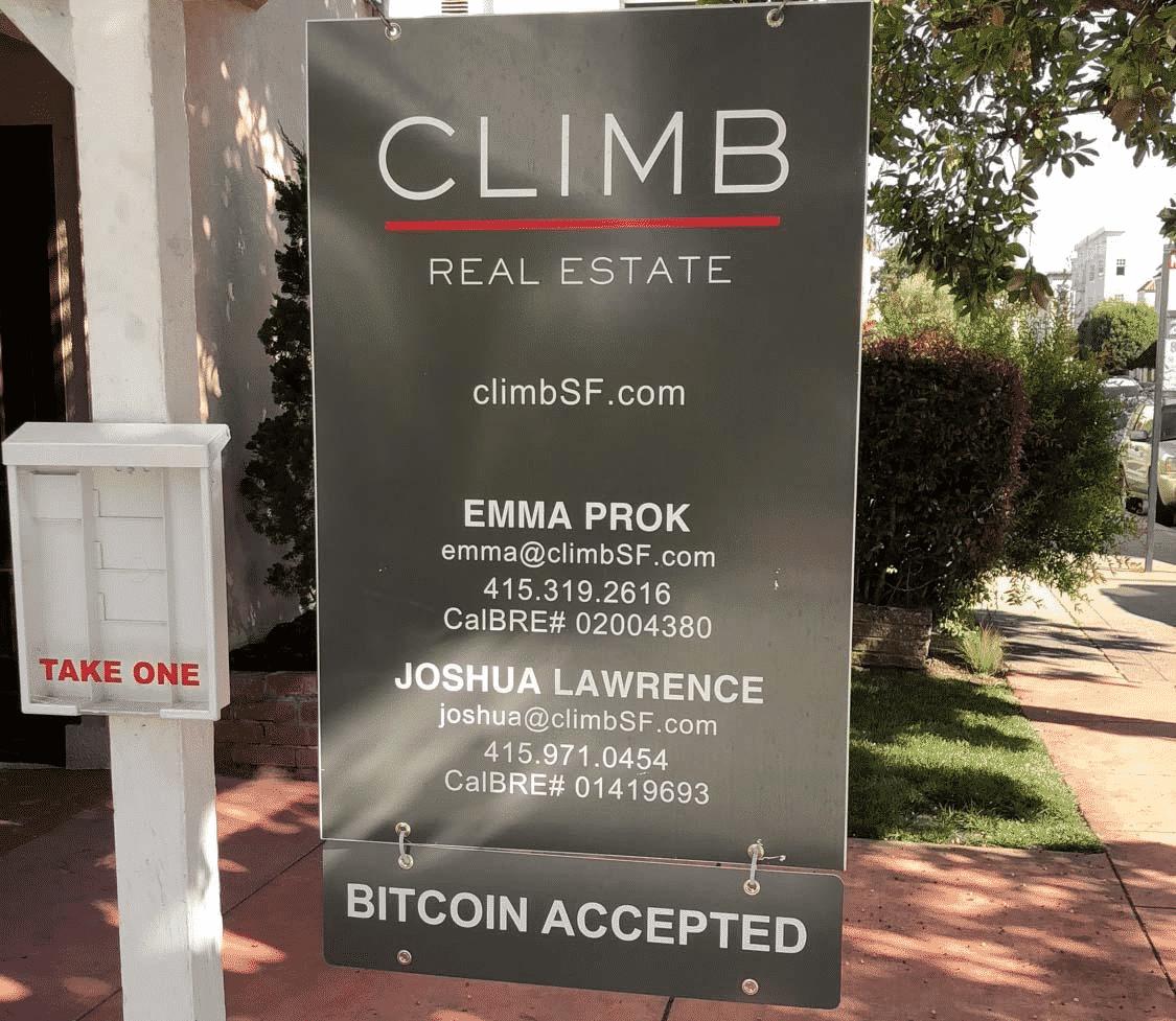 advertising blockchain technology like Bitcoin on a yard sign