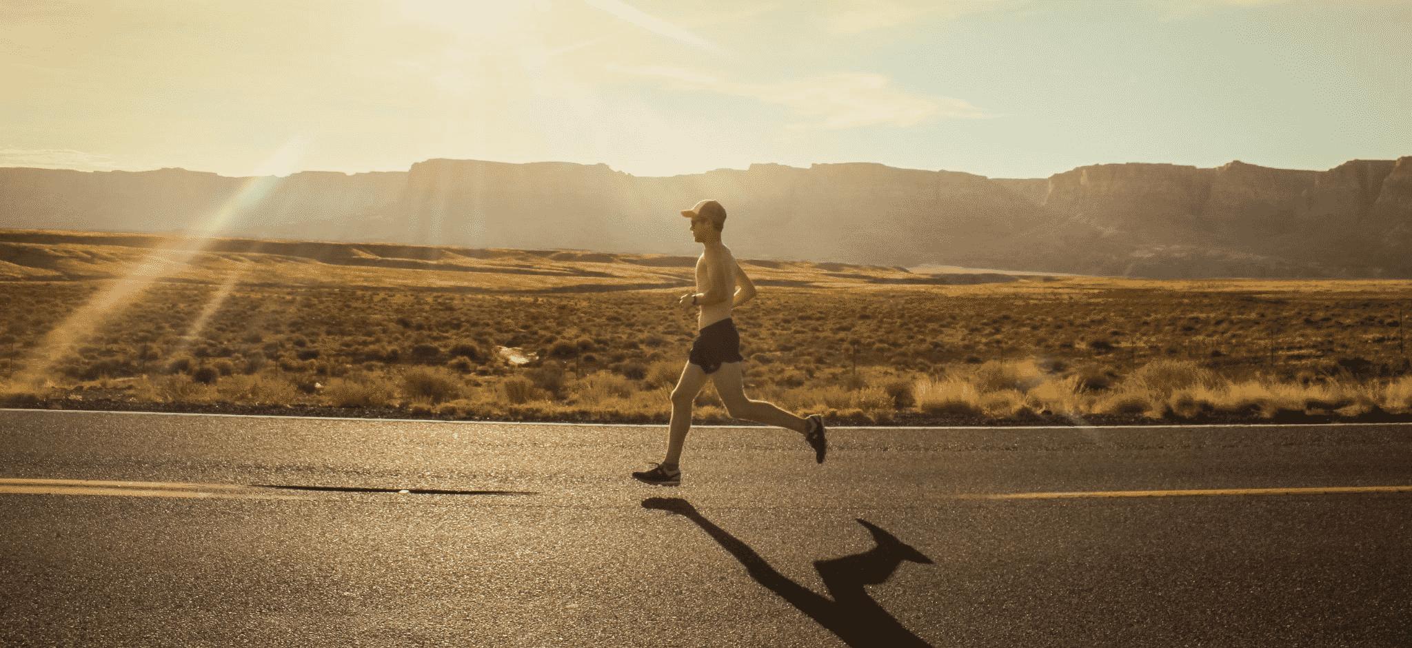 running topless man