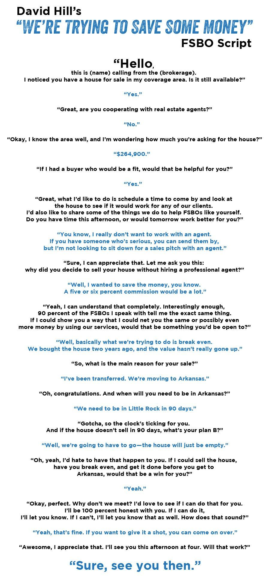 David Hill's FSBO Script