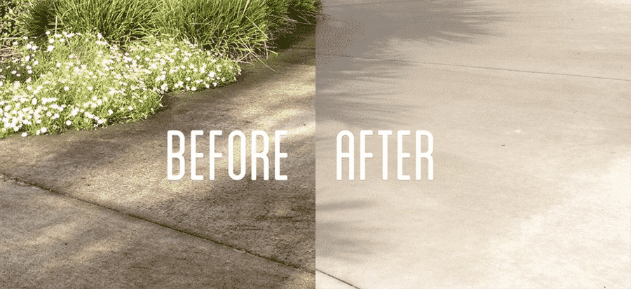 Before & After wash of the Driveway & Walkways