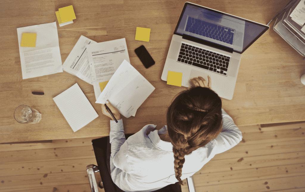 woman answering exams