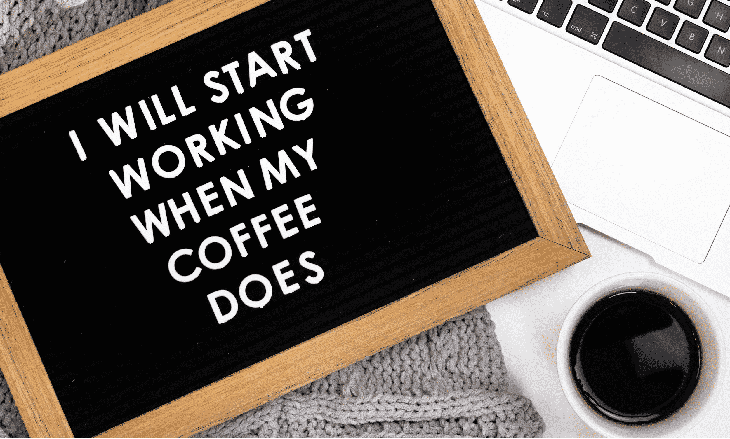 blackboard with writings about work and coffee