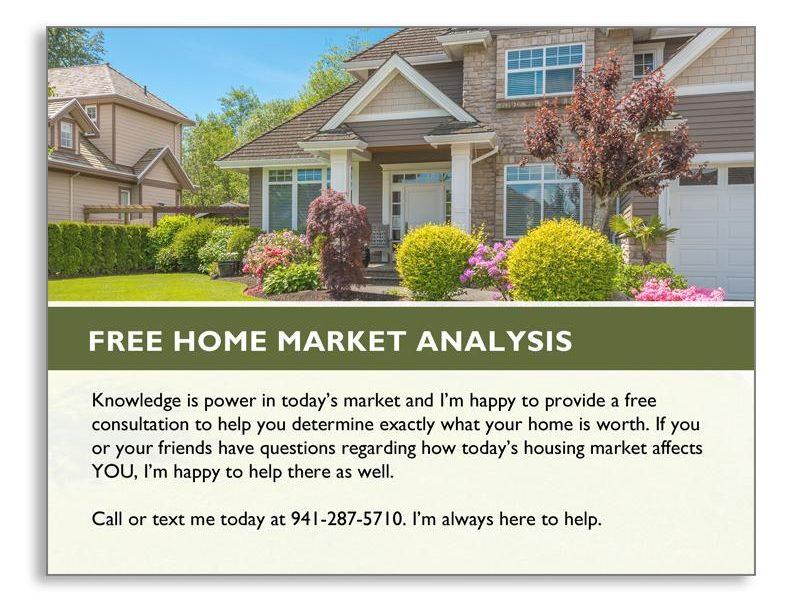 Seller Real Estate Postcard Offering Free Home Market Analysis