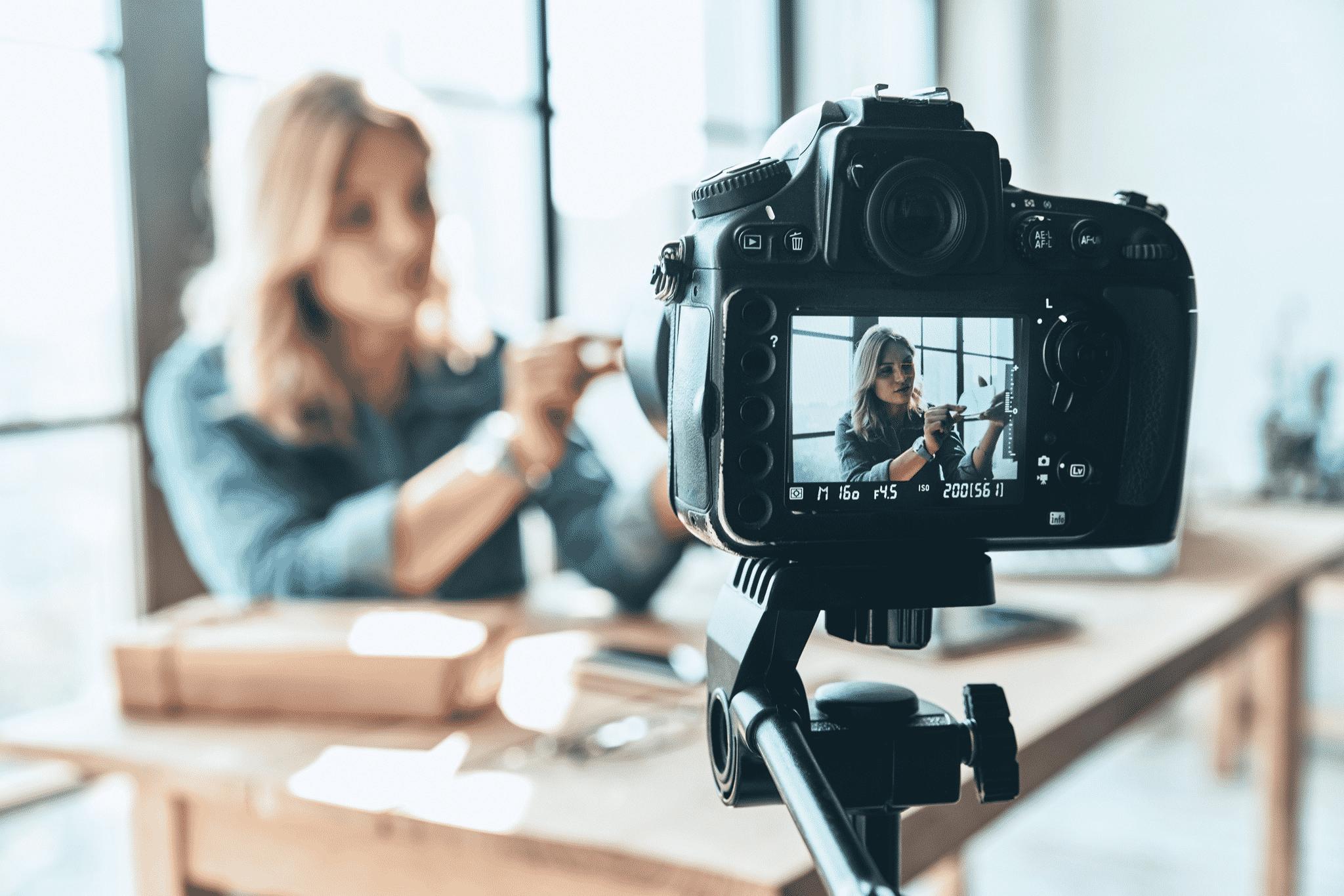 woman on camera screen