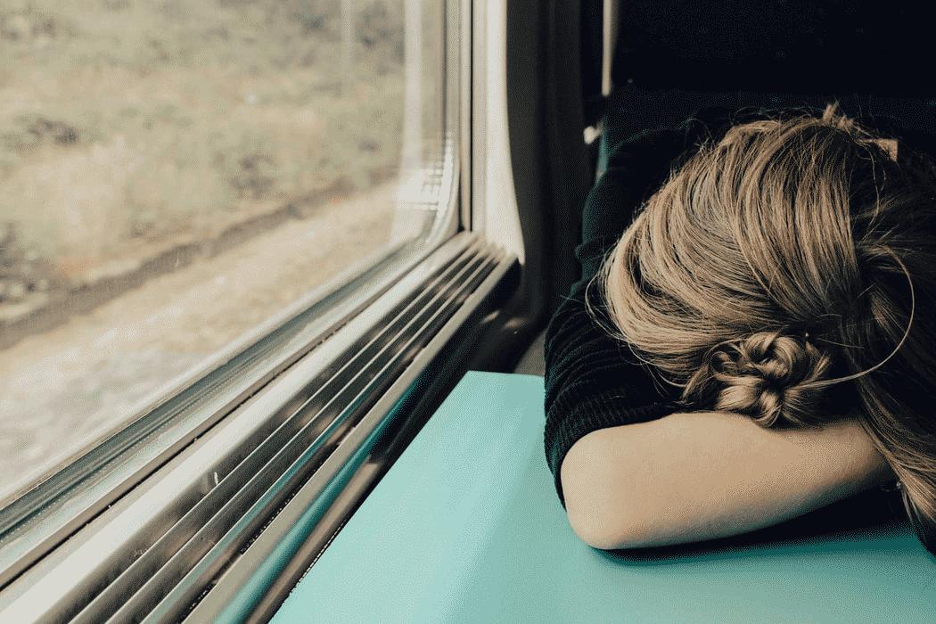 woman sleeping in the train