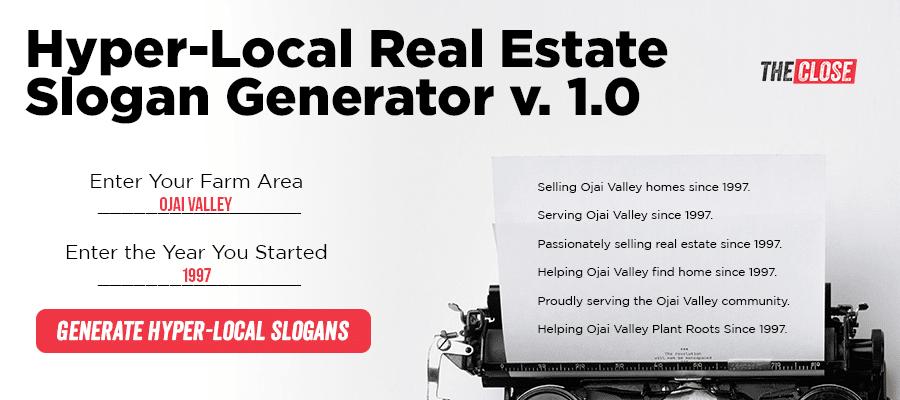 Hyper-Local Real Estate Slogan Generator v. 1.0