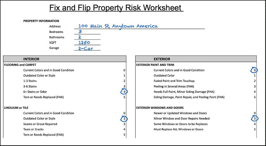 Fix-and-Flip Property Risk Worksheet Property Evaluation Process