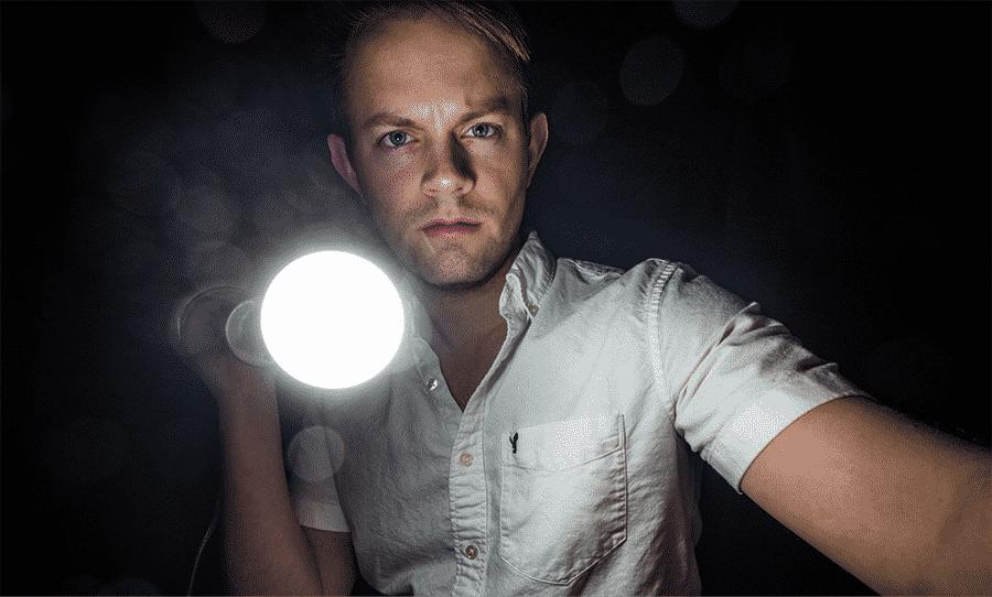 man with a flashlight