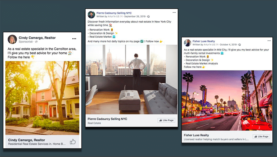 Examples of actual social media by Artur'in