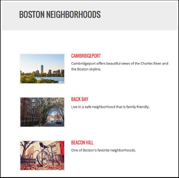 Placester Boston Neighborhoods webpage
