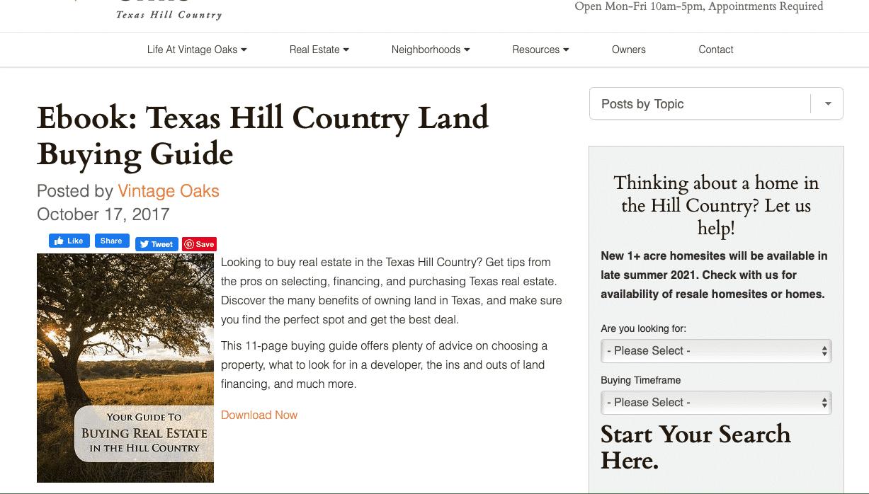 Vintage Oaks landing page